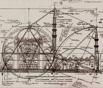 Technical Drawing of the  Sulaimaniyah Mosque