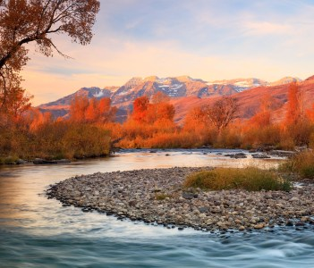 Golden morning at the Provo River Heber Valley in USA