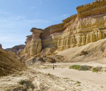 Impressive natural canyon in the Namibe Desert of Angola. The sandstone has been eroded over thousands of years into its current shapes.