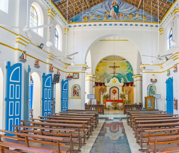 Panorama of the prayer hall of St Mary Church in Puttalam