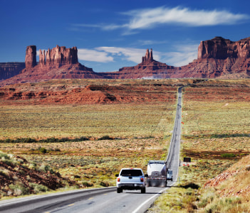 Road 163, scenic byway approaching to the Monument Valley, Mesa, Arizona, USA