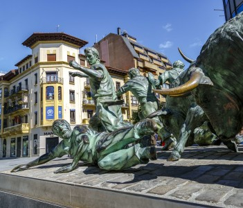 Monument of Encierro Running of the Bulls, Pamplona Spain