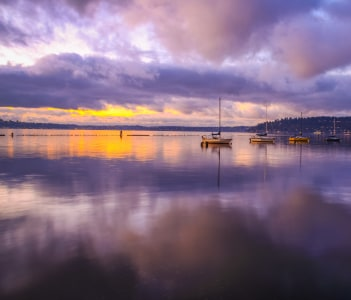 Amazing sunset at Gene Coulon Memorial Beach Park in Lake Washington Renton