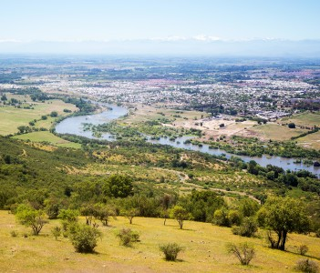 Panoramic view of the river Claro and city of Talca Chile