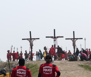 Easter crucifixion in the city of San Fernando in Philippines