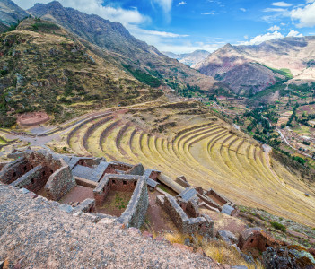 Ruins and terraces at Pisac in the Sacred Valley near Cusco Peru