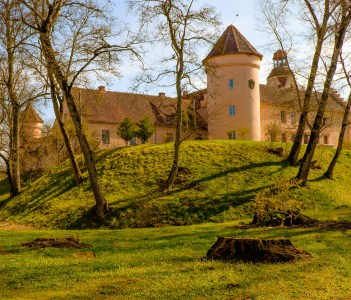 Middle age Edole Castle in Latvia, Baltics