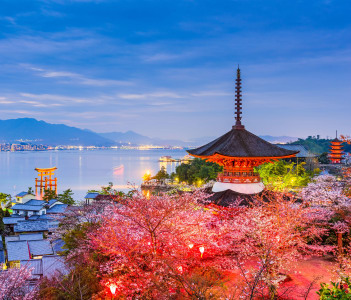 Miyajima Island, Hiroshima, Japan in spring