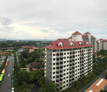 Scenic aerial panorama of modern business financial district architecture buildings and houses in Port Dickson, Malaysia