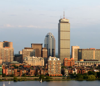 Panoramic view of the Boston MA riverfront neighborhoods of Back Bay and Brookline