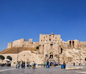 Gate of the citadel in Aleppo, Syria