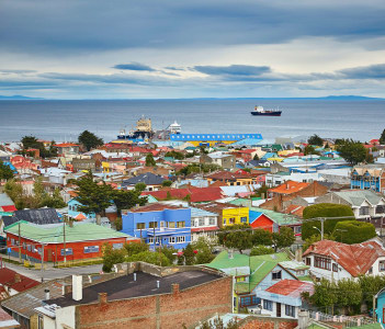 Scenic view of Punta Arenas with Magellan Strait in Patagonia Chile South America