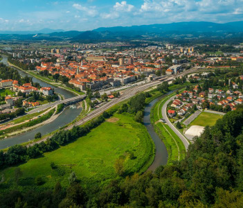 Summer panorama of the old town of Celje, Slovenia