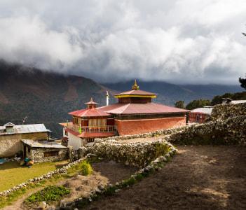 Buddhist monastery stupa Pangboche village Nepal