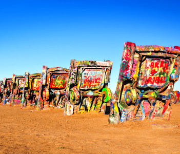 Cadillac Ranch is a public art installation and sculpture in Amarillo Texas USA
