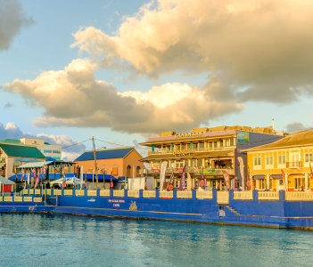 View of harbour drive from the Caribbean Sea in George Town Cayman Islands