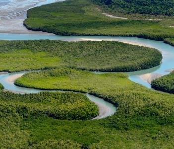 Beautiful Aerial view of river in Bijagos Guinea Bissau