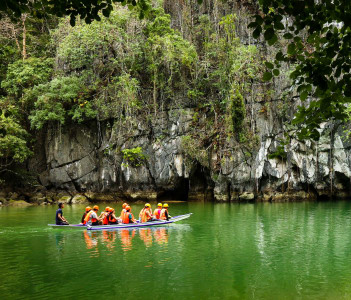 Boats at cave entrance of Puerto Princesa subterranean underground river - One of the 7 New Wonders of Nature