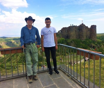 with Kirk from the US in front of Amberd fortress