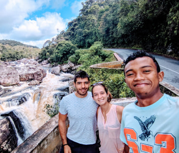 couple, waterfall, picture