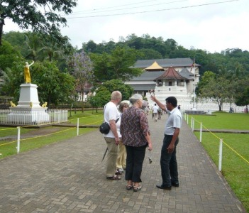 Tourists at Temple of Tooth Relic in Kandy