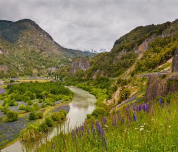 Simpson River National Park near Puerto Aisen in Chile