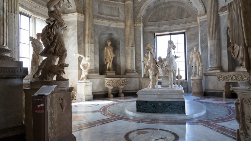 The pristine marble statues in the Vatican Museum