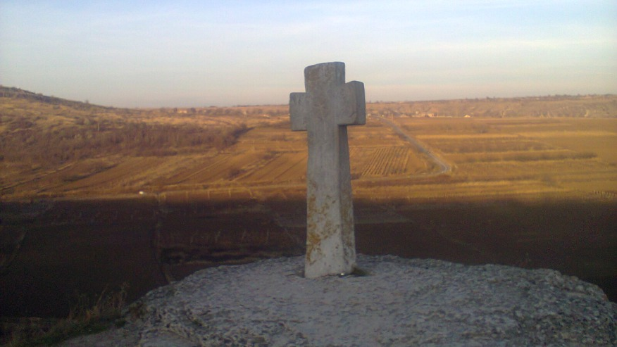 Stone cross at the Orhei Cave Monastery