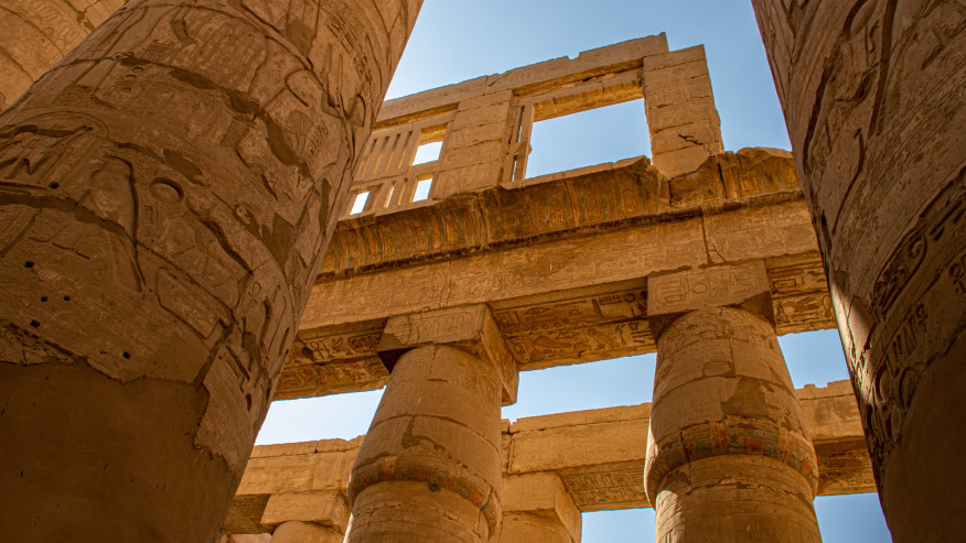hieroglyphs  covered columns
