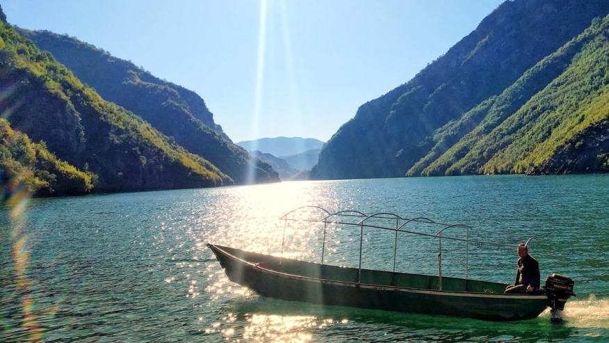 Boating in a mountain lake