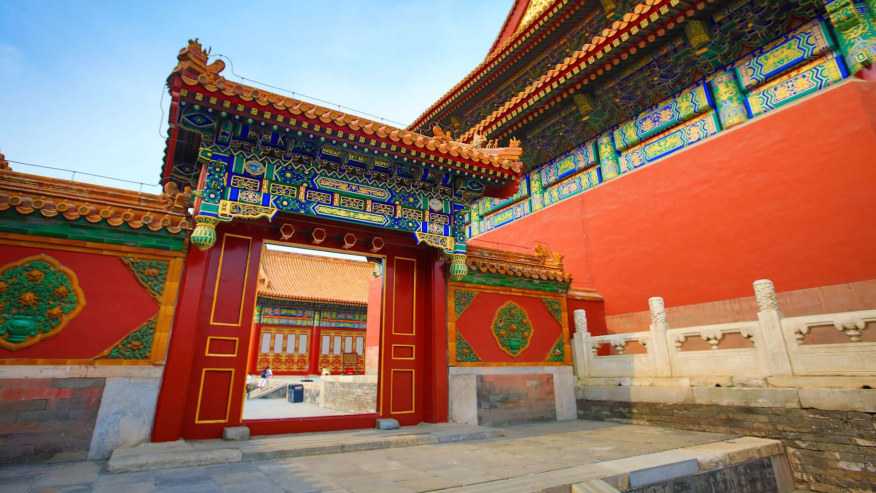 Marvel at the colourful Chinese architecture at the Forbidden City