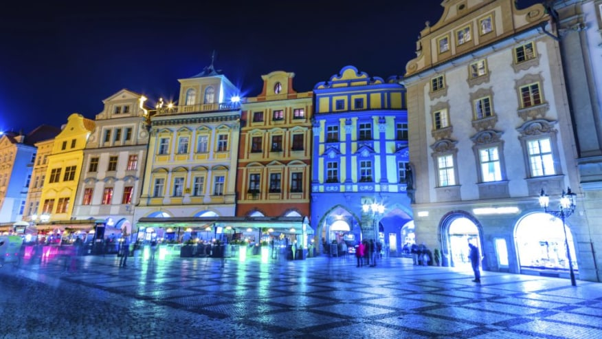 The buildings of Prague lit by the lights of the night