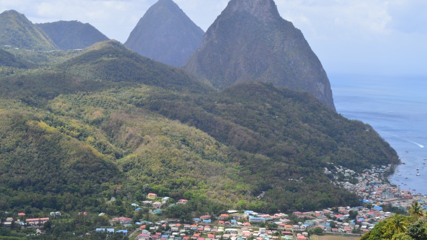 Twin Pic and view of Soufriere Town
