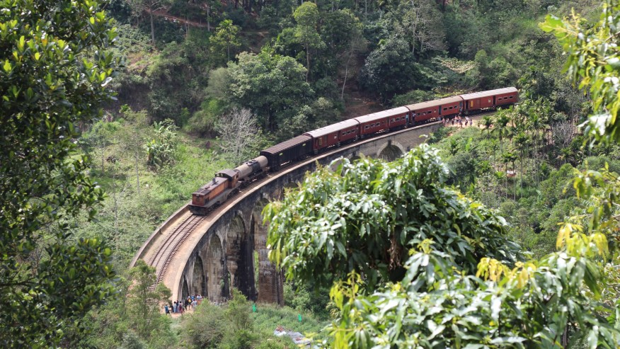 Train on bridge in Ella Town