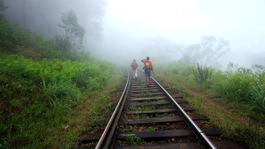 walk on the rail tracks