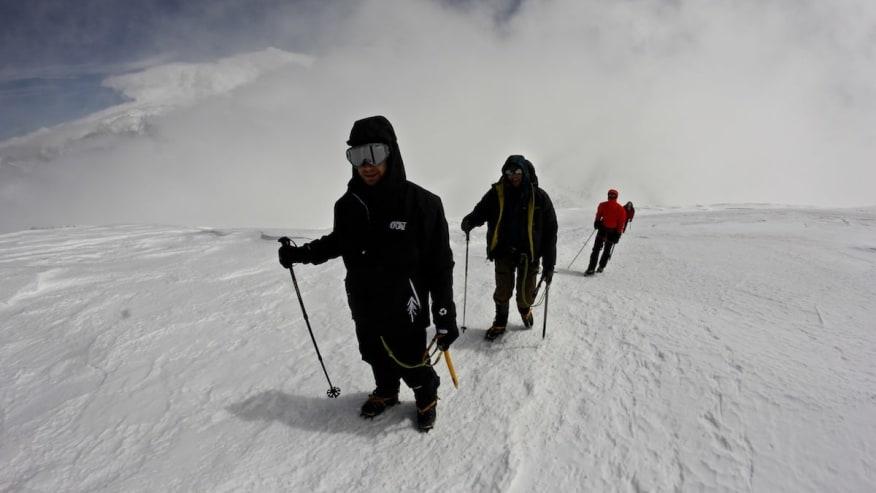 Trekking on snow
