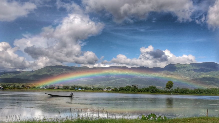 Rainbow over the lake.