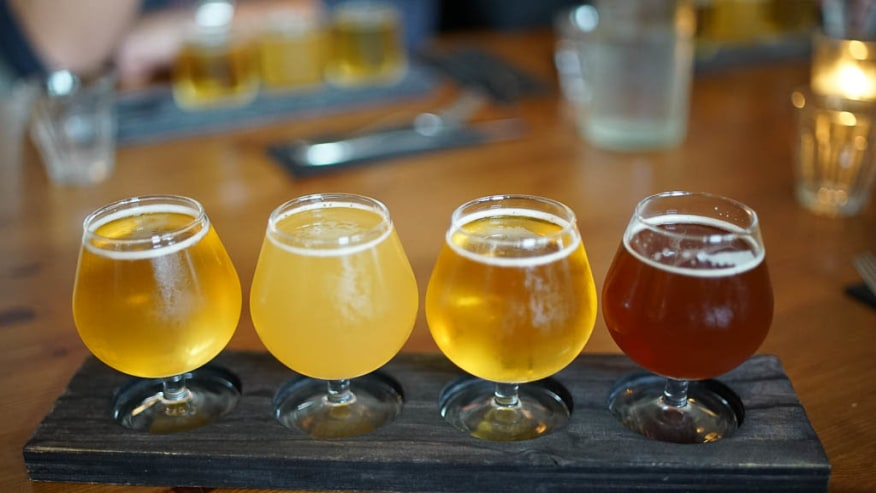 A paddle of various beers