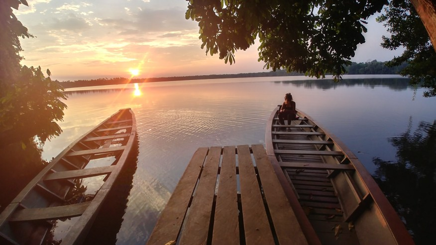 Sunset at lake Sandoval