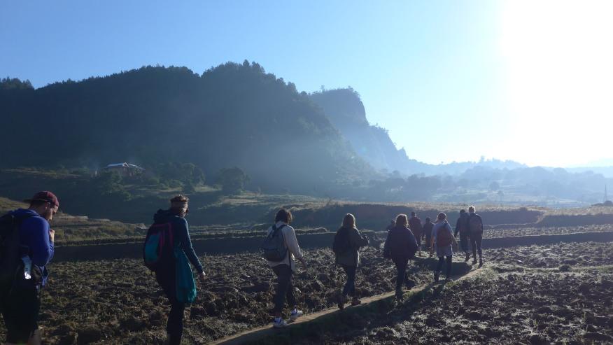 Tourists taking a walking tour