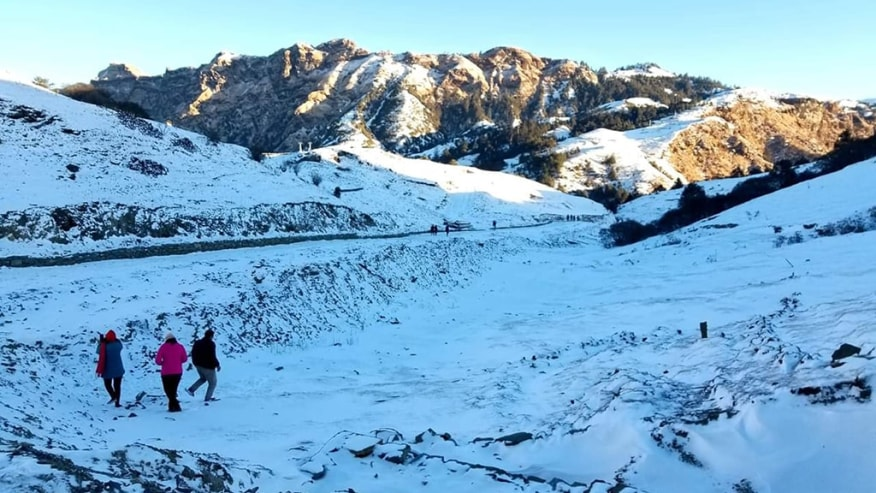 Hike on snow-capped mountains