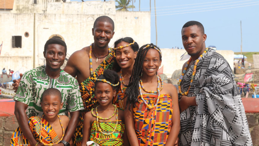 Wearing traditional Elmina attire