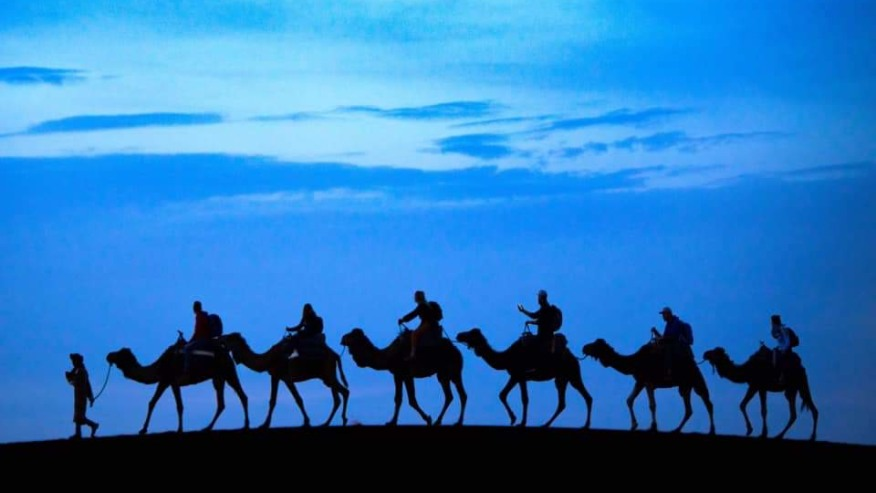 Ride camels in the desert