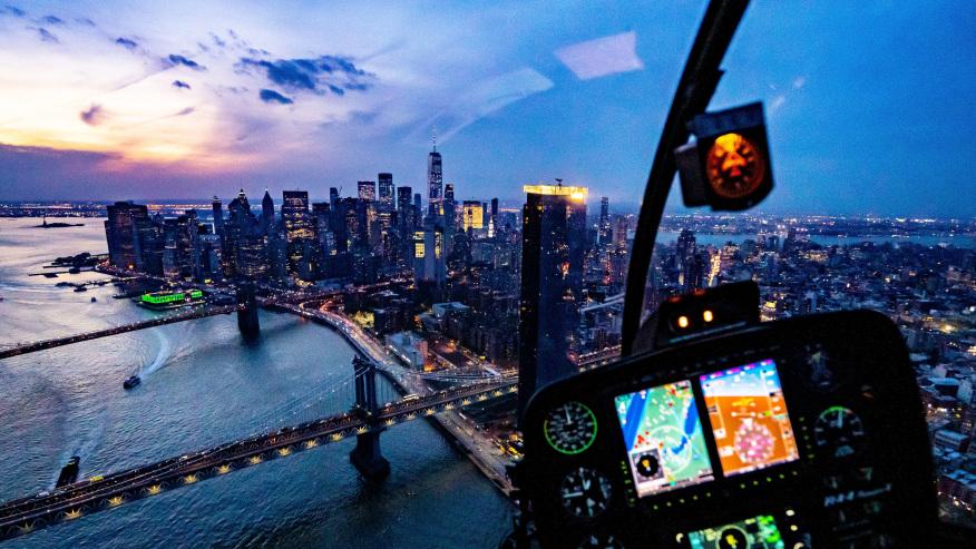 Flying over the Hudson River