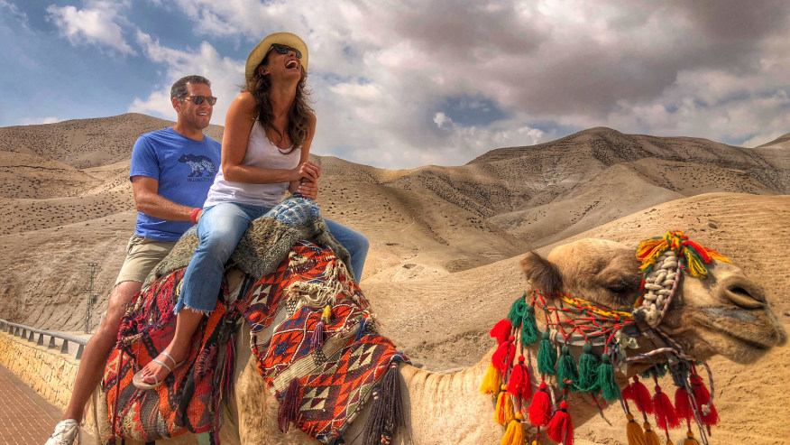 A camel ride by the Dead Sea