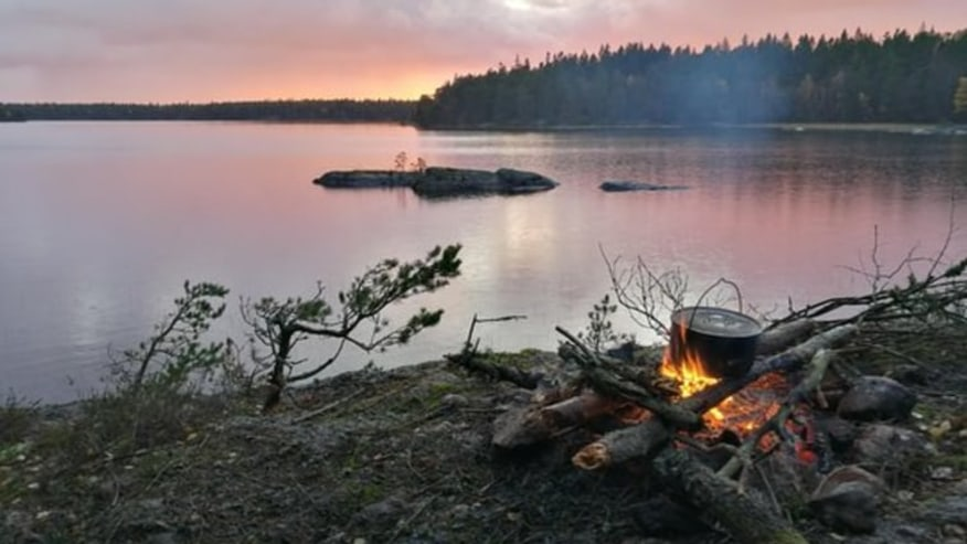Bonfire by a lake