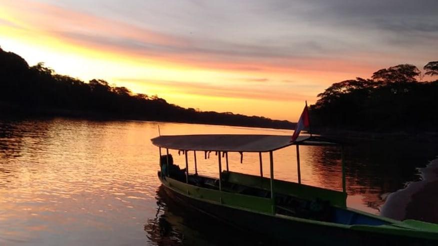 Sunset at Tambopata river tour