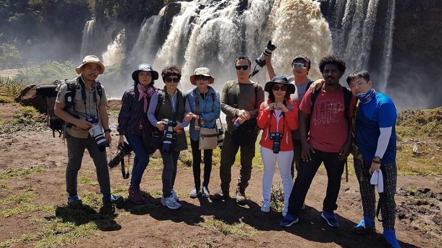Happy tourists