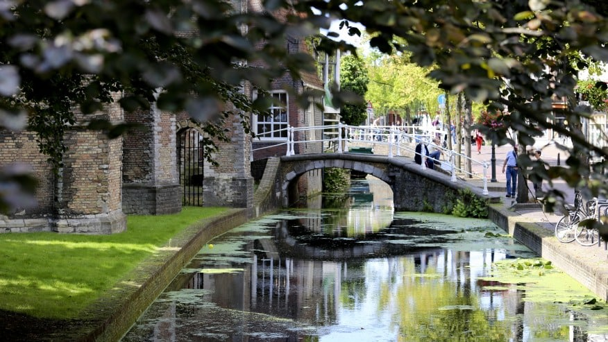 Small arch bridge over a canal