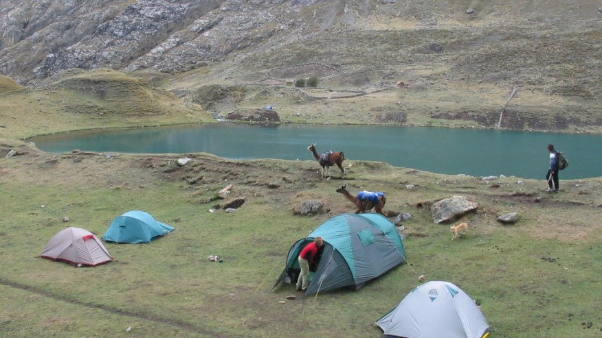 Camping by the lake in Peru